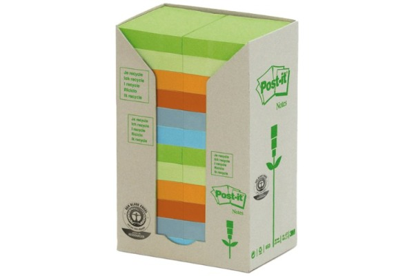 POST-IT Haftnotizen Recycling 51x38mm 653-1RPT 6-farbig, 24x100 Blatt