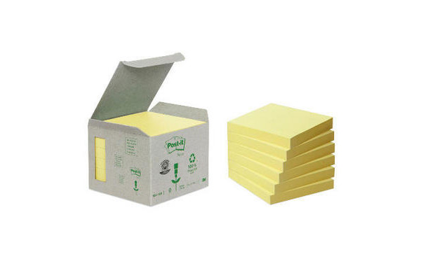 POST-IT Haftnotizen Recycling 76x76mm 654-1B gelb 6x100 Blatt