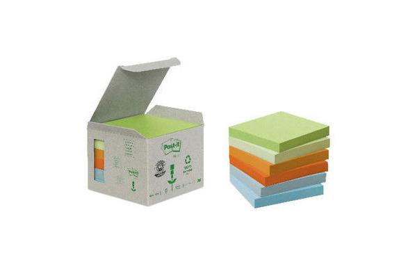 POST-IT Haftnotizen Recycling 76x76mm 654-1GB rainbow 6x100 Blatt
