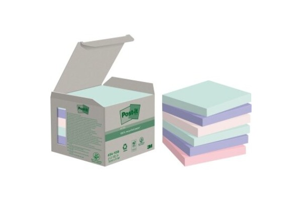 POST-IT Haftnotizen Recycling 76x76mm 654-1GB rainbow 6x100 Blatt