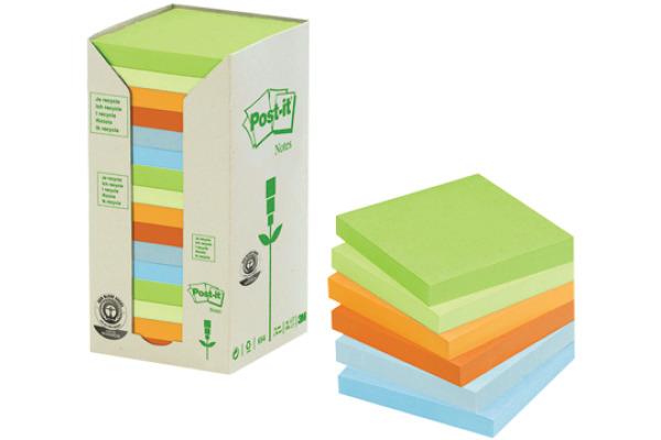 POST-IT Haftnotizen Recycling 76x76mm 654-1RPT 6-farbig, 16x100 Blatt