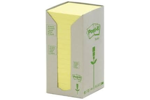POST-IT Haftnotizen Recycling 76x76mm 654-1T gelb, 16x100 Blatt