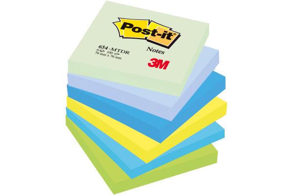POST-IT Dream 76x76mm 654-MTDR 6-farbig assortiert 6x100...
