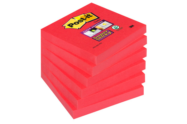 POST-IT Block Super Sticky 76x76mm 6546SSPO neon-rot,...