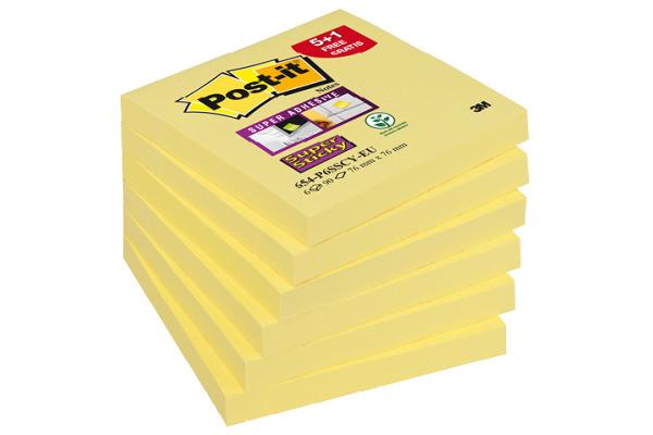 POST-IT Notes Super Sticky 76x76mm 654P6SSCY gelb 6x90 Blatt