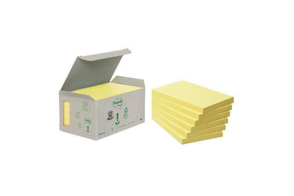 POST-IT Haftnotizen Recycling 126x76mm 655-1B gelb 6x100...