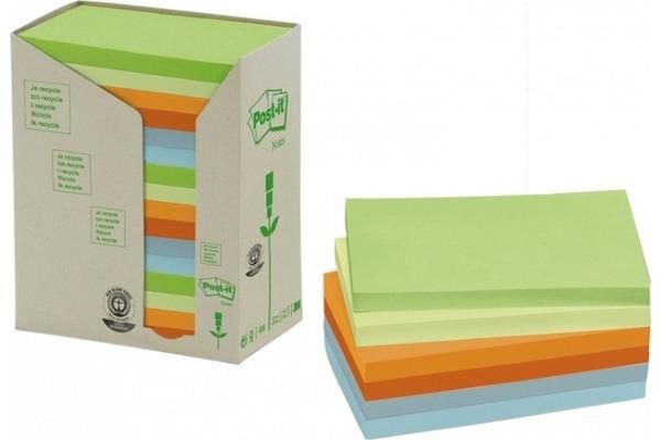 POST-IT Haftnotizen Recycling 127x76mm 655-1RPT 6-farbig, 16x100 Blatt