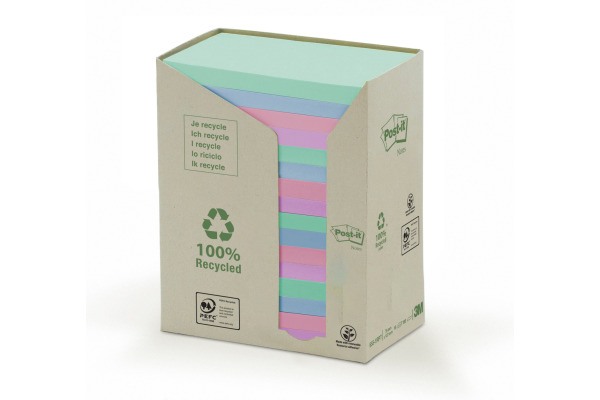 POST-IT Haftnotizen Recycling 127x76mm 655-1RPT 6-farbig, 16x100 Blatt