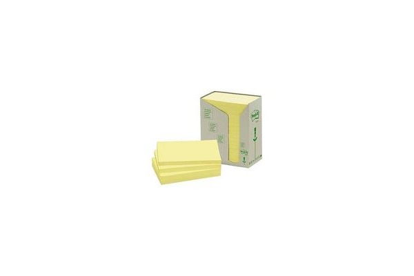 POST-IT Haftnotizen Recycling 127x76mm 655-1T gelb, 16x100 Blatt
