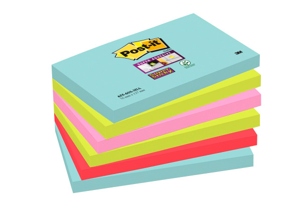 POST-IT Super Sticky Notes 127x76mm 6556SSMIA Miami 4 Farben 6x90 Blatt