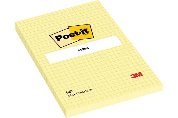 POST-IT Haftnotizen 152x102mm 662Y gelb, 100 Blatt, kariert