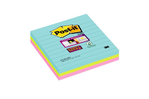 POST-IT Super Sticky XL 101x101mm 6753SSMIA Miami, 3 Farben 3x70 Blatt
