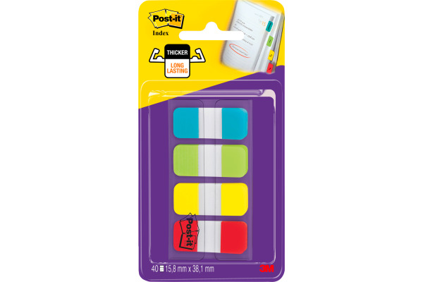 POST-IT Index Strong schmal 16x38mm 676-ALYR 4-farbig 4x10 Stück