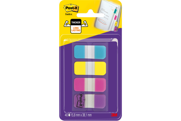 POST-IT Index Strong schmal 16x38mm 676-AYPV 4-farbig 4x10 Stück