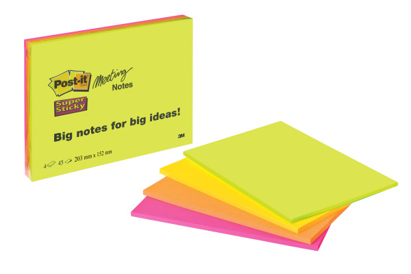 POST-IT Super Sticky Big Notes 4x45Bl. 6845-SSP 4 Farben ass. 152x203mm