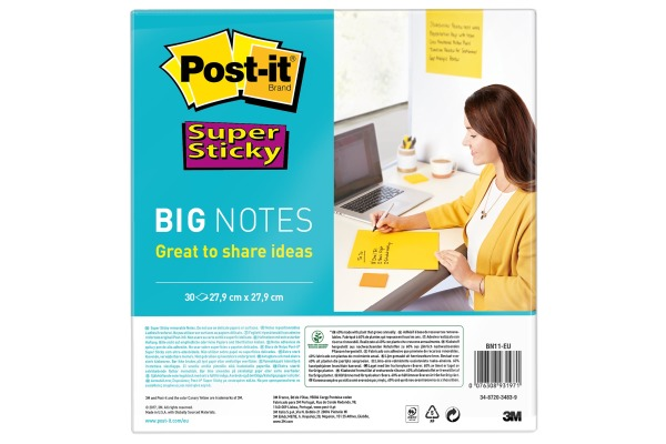 POST-IT Super Sticky Big Notes BN11-EU gelb, 30 Blatt 279x279mm