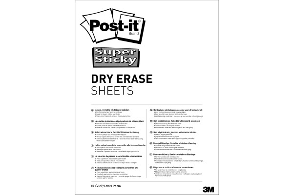 POST-IT Super Sticky Dry Erase Sheets DEFPACKL Gloss white, 15 Bl. 279x390mm