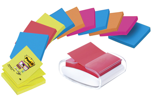 POST-IT Super Sticky Dispenser 76x76mm PRO-W12N 5 Farben 12x90 Blatt