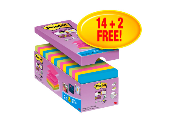 POST-IT Super Sticky Z-Notes 76x76mm R330SSVP 14+2 gratis 90 Blatt