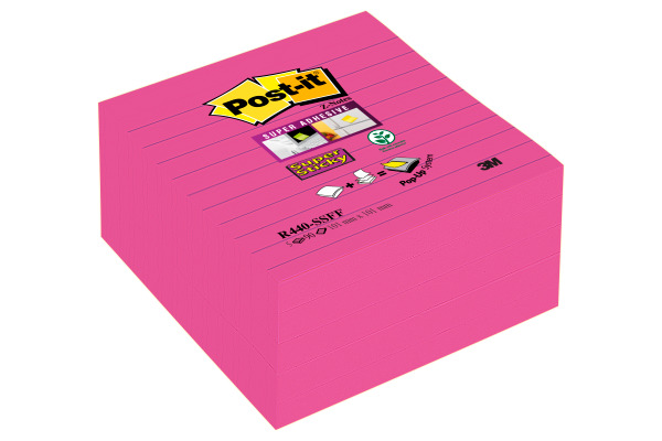 POST-IT Super Sticky XYZ-No. 101x101mm R440-SSFF Fuchsia, liniert 5 Block