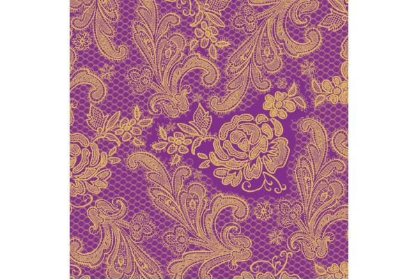 PPD Servietten 33x33cm 7669 Ornament gold/violett 20 Stück