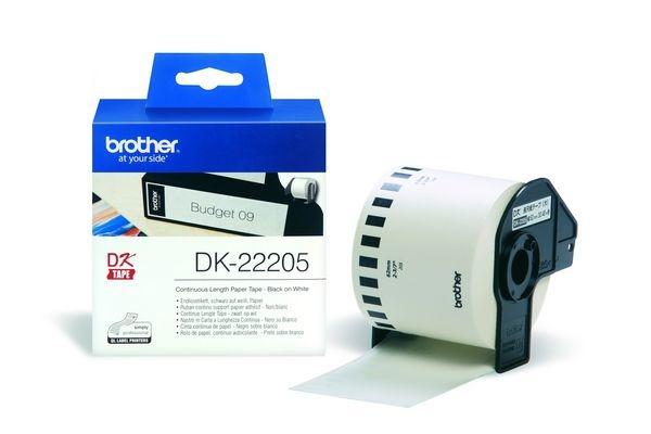 PTOUCH Endlos-Etiketten 62mmx30.48m DK-22205 QL-500 550...