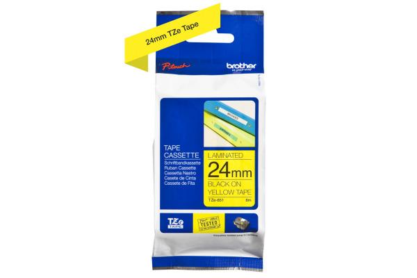 PTOUCH Band, laminiert schwarz/gelb TZe-651 PT-2450DX 24 mm