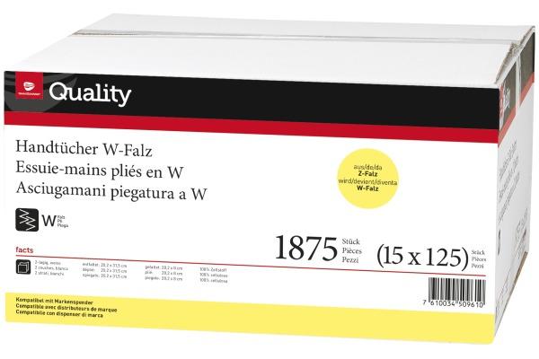 QUALITY Falthandtuch 2lg. 20,2x31,5cm 992830 weiss, W-Falz 15x125 Blatt