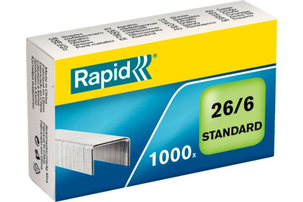 RAPID Heftklammern 26/6 verzinkt 24861300 max. 20 Blatt 1000 Stück