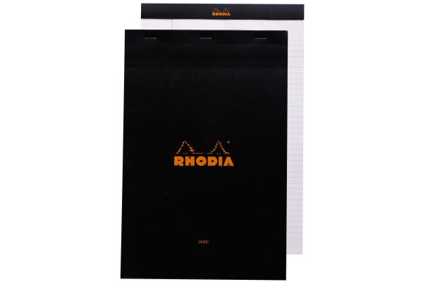 RHODIA Notizblock 210x318mm 196009 liniert schwarz