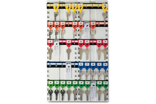 RIEFFEL Schlüsseltafel KyStor weiss KR-11.50 50×30,5cm 50 Haken