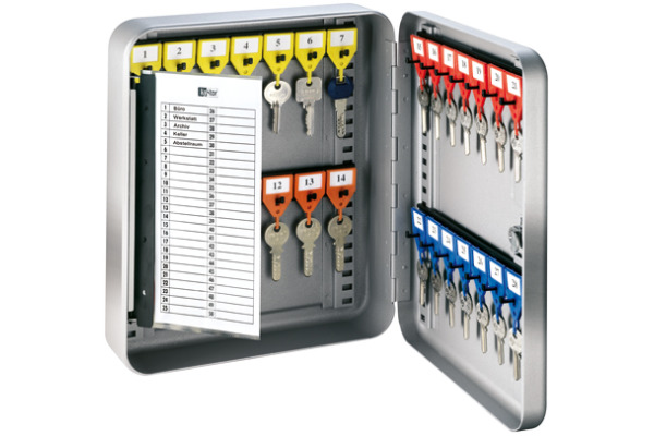 RIEFFEL Schlüsselkasten KyStor grau KR-15.28 24,2x30x8cm 28 Haken