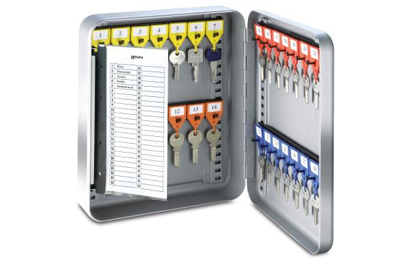 RIEFFEL Schlüsselkasten KyStor grau KR-15.28Z 24,2x30x8cm 28 Haken