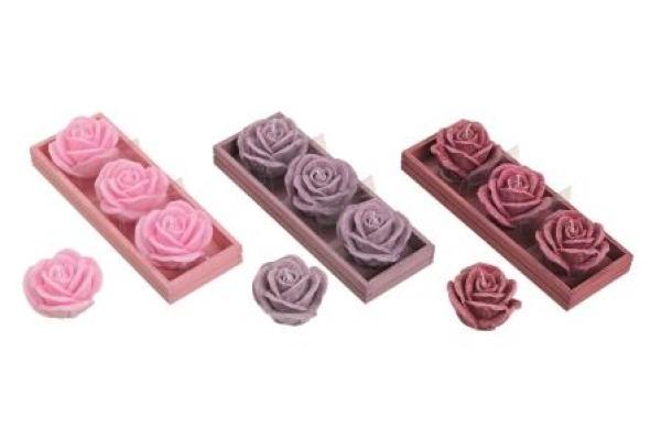 ROOST Kerzen-Set Rose 5x5cm 10019029 3 Farben ass.