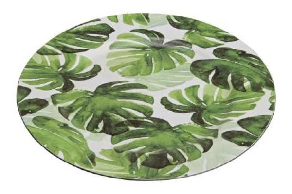 ROOST Teller Tropical 33cm 10022676 weiss, grün