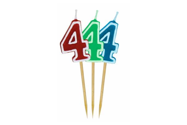 ROOST Kerze Zahl 4 10764 rot, grün, blau 9x2.5cm