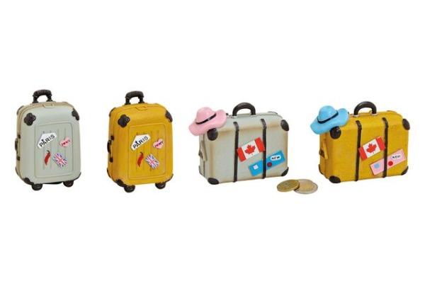 ROOST Sparkasse Trolley/Koffer 16294 grau, gelb 7x10x4cm