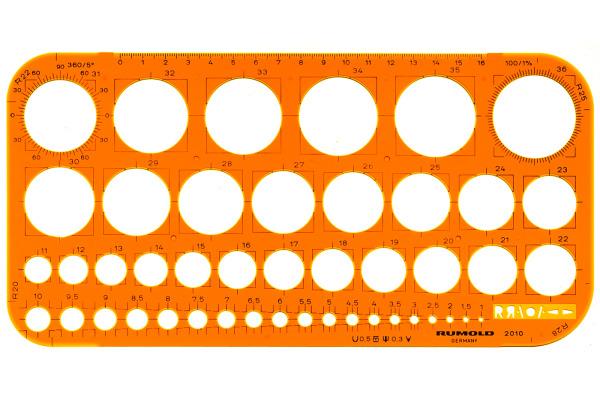 RUMOLD Kreisschablone 1-36mm 2010 orange/transp.