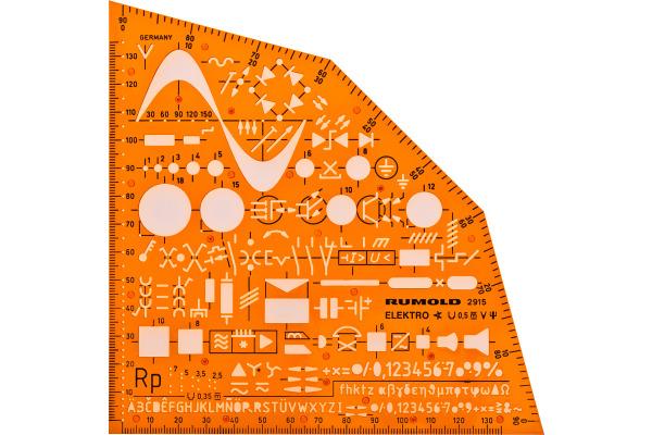 RUMOLD Ausbildungsschablone 2915 155x155x1,2mm orange/transp.