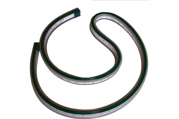 RUMOLD Kurvenlineal 60cm 821060 grün, mit Teilung
