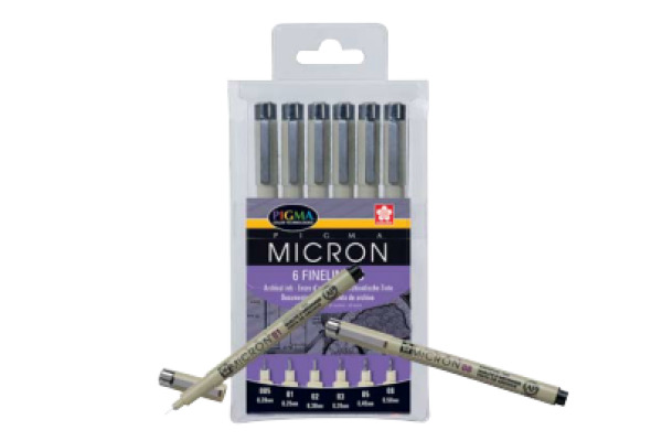 SAKURA Pigma Micron Set POXSDK6 0,2/0,25/0,3/0,35/0,45/0,5mm