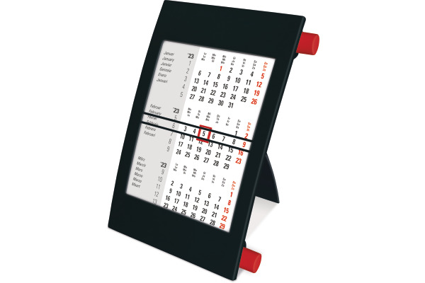 SATUREX Tischkalender 3-Mt. bk/rot 5001 11x16,5cm d/e/f/i/sp/n 2021