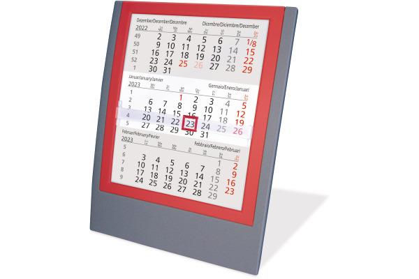 SATUREX Tischkalender 3-Mt. anth./rot 5039-AR d/e/f/i/sp/nl 13x17,5cm, 2021