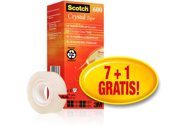 SCOTCH Crystal Clear 600 19mmx33m 6-1933R8 transparent 8 Stück