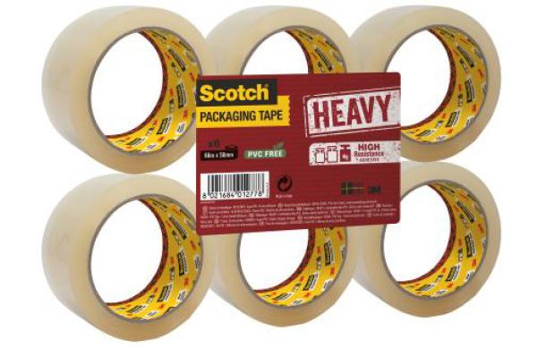 SCOTCH Verpackungsband 50mmx66m HValle5066.F Heavy, transparent 6 Rollen