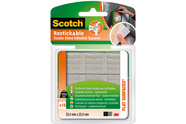 SCOTCH Klebepads 25.4x25.4mm R100 -450g, 18 Stück
