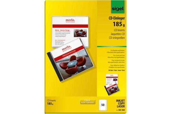 SIGEL CD-Einleger DD300 weiss, 185g 50 Stück