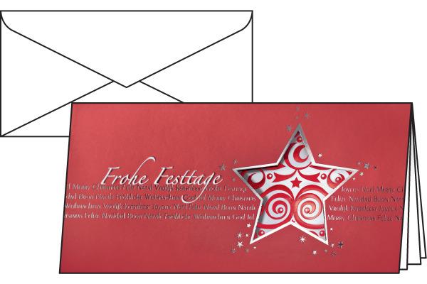 SIGEL Weihnachts-Karten 2/3 A4 DS048/W mit Umschlägen 10+10 Stück