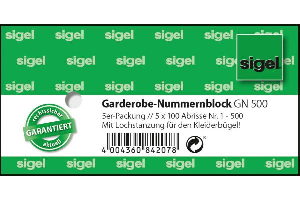 SIGEL Garderobe-Nummernblock GN500 num.1-500,2fbg,sort,5x100 BL