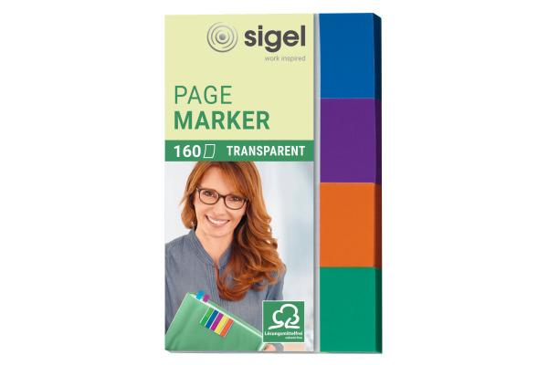 SIGEL Haftnotizen Transp. 20x50mm HN671 4-farbig ass. 4 x 40 Streifen